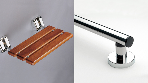 Lakes Series 200 RD Wall Mounted Shower Seat in Iroko Hardwood (120kg) with Gold Fixings