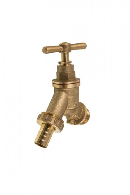"3/4"" BIBTAP COMPLETE WITH DOUBLE CHECK VALVE - DZR BRASS - OUTDOOR GARDEN TAP"