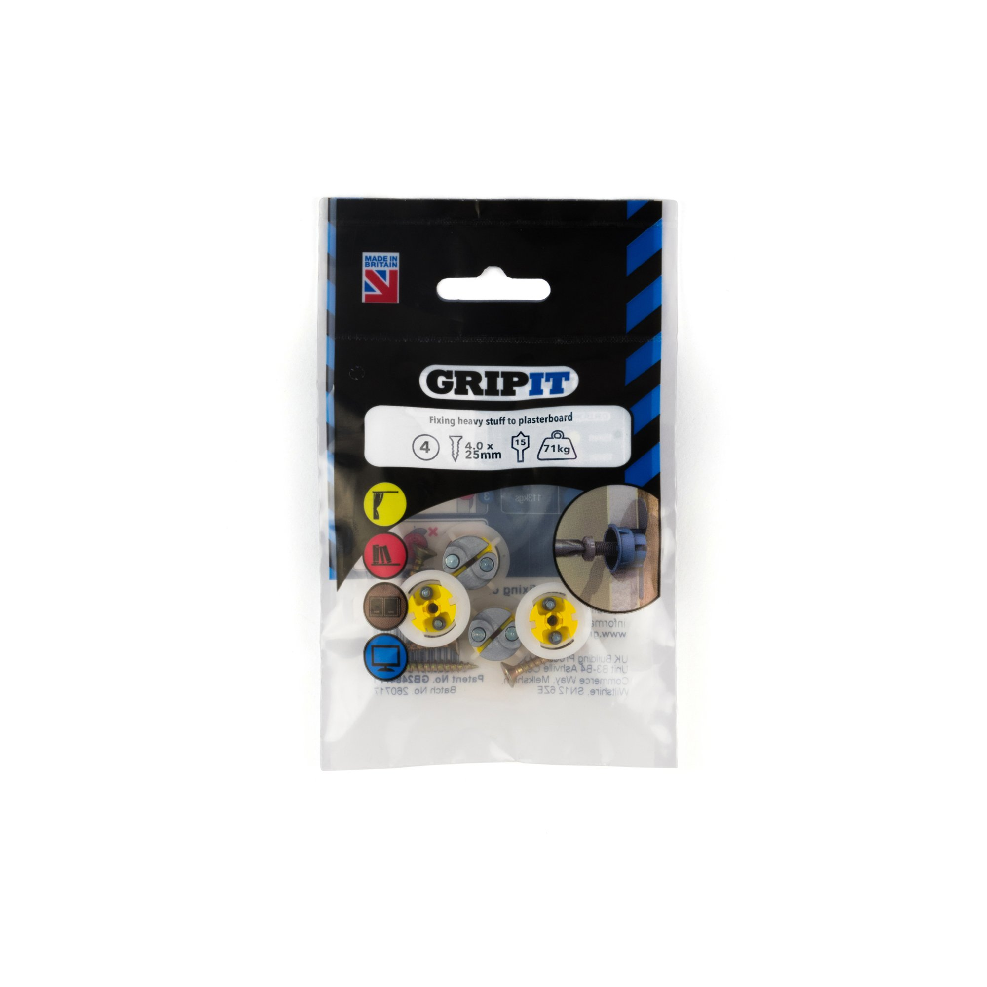 GRIPIT FIXINGS - YELLOW 15MM FIXING PACK - 152-254 - PK4