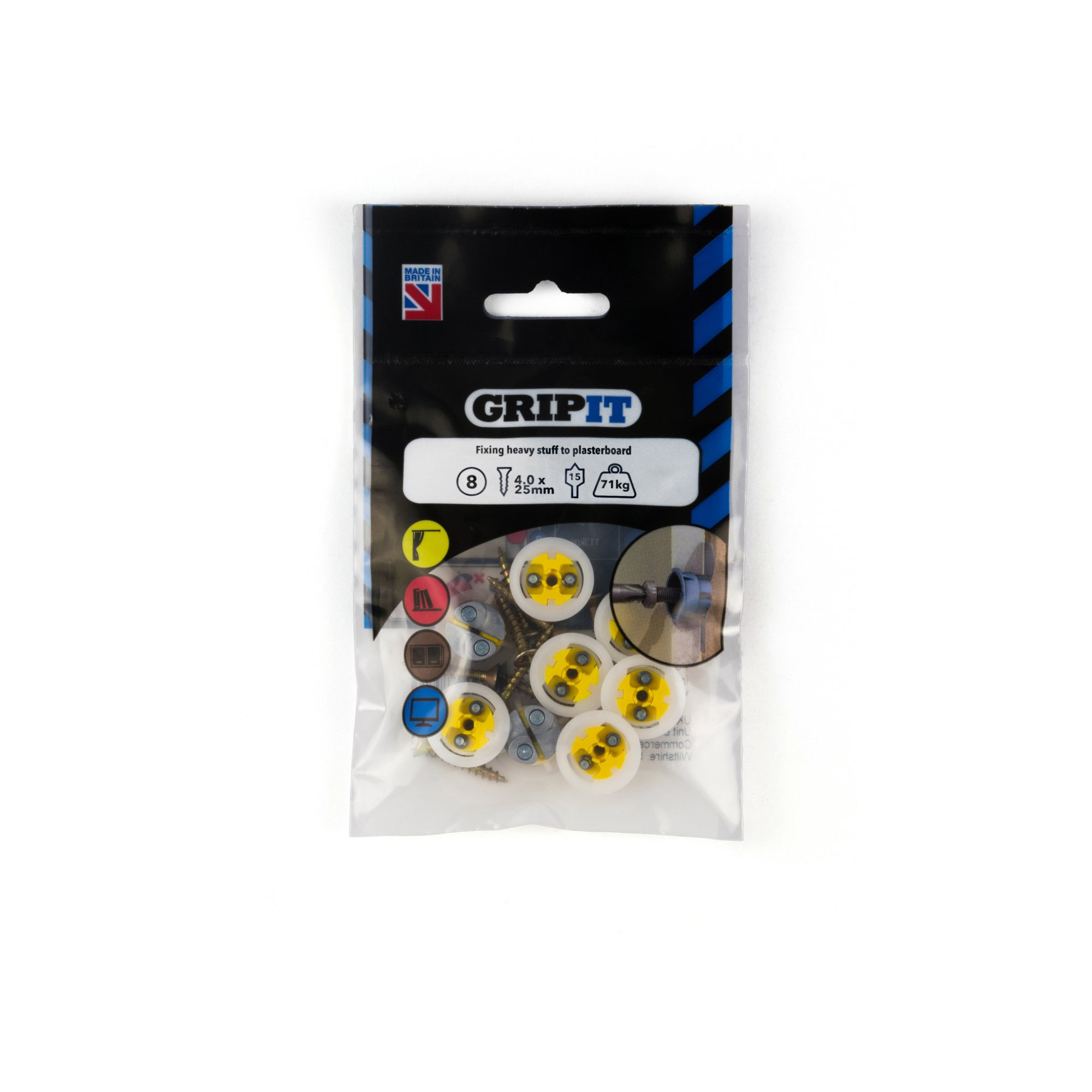 GRIPIT FIXINGS - YELLOW 15MM FIXING PACK - 152-258 - PK8