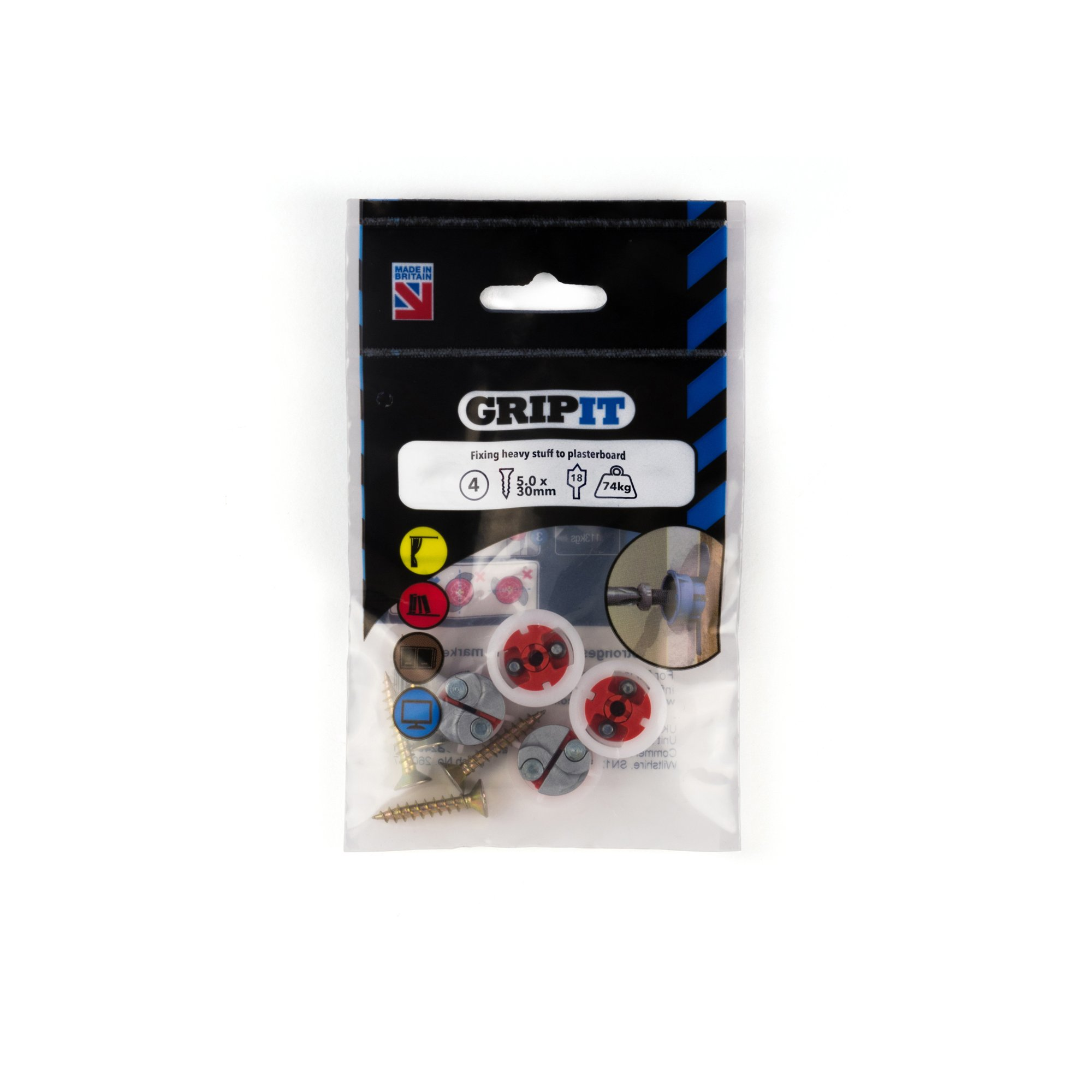 GRIPIT FIXINGS - RED 18MM FIXING PACK - 182-254 - PK4