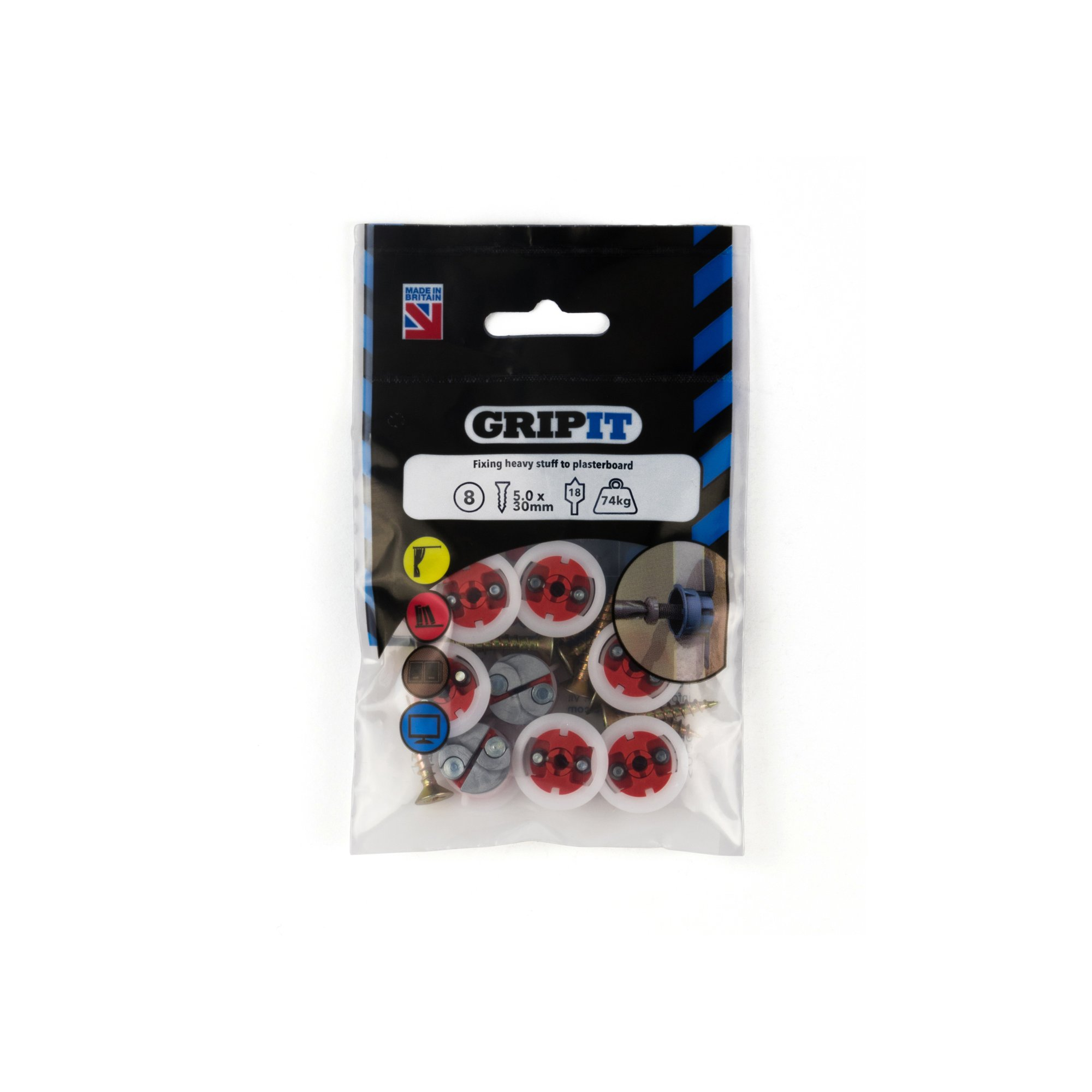 GRIPIT FIXINGS - RED 18MM FIXING PACK - 182-258 - PK8