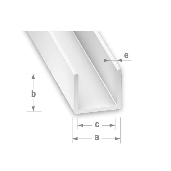PVC U PROFILE WHITE 14mm WIDE x 10mm HIGH 1mtr