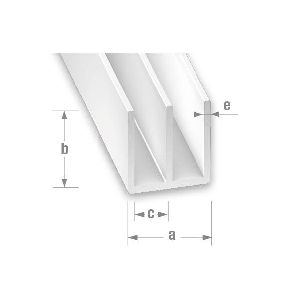 PVC DOUBLE U WHITE 21x10.5x7.5x2mm 1mtr
