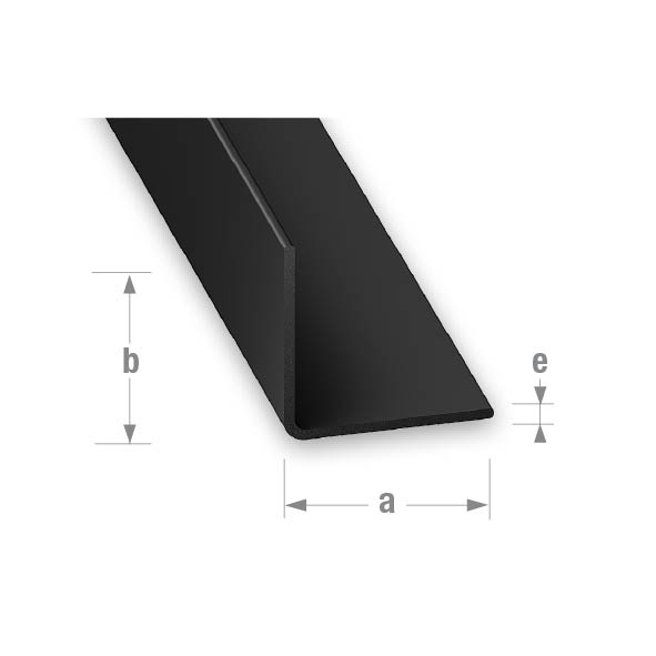 PVC EQUAL CORNER BLACK 20x20mm 1mtr