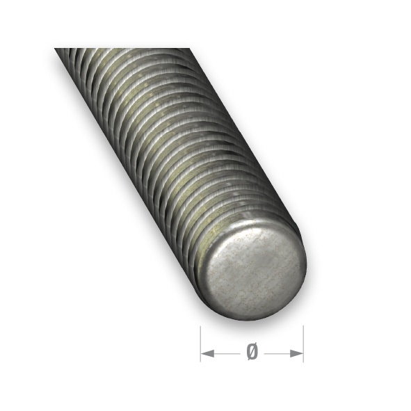 CQFD ZINCED STEEL THREADED ROD 5mm x 1mtr
