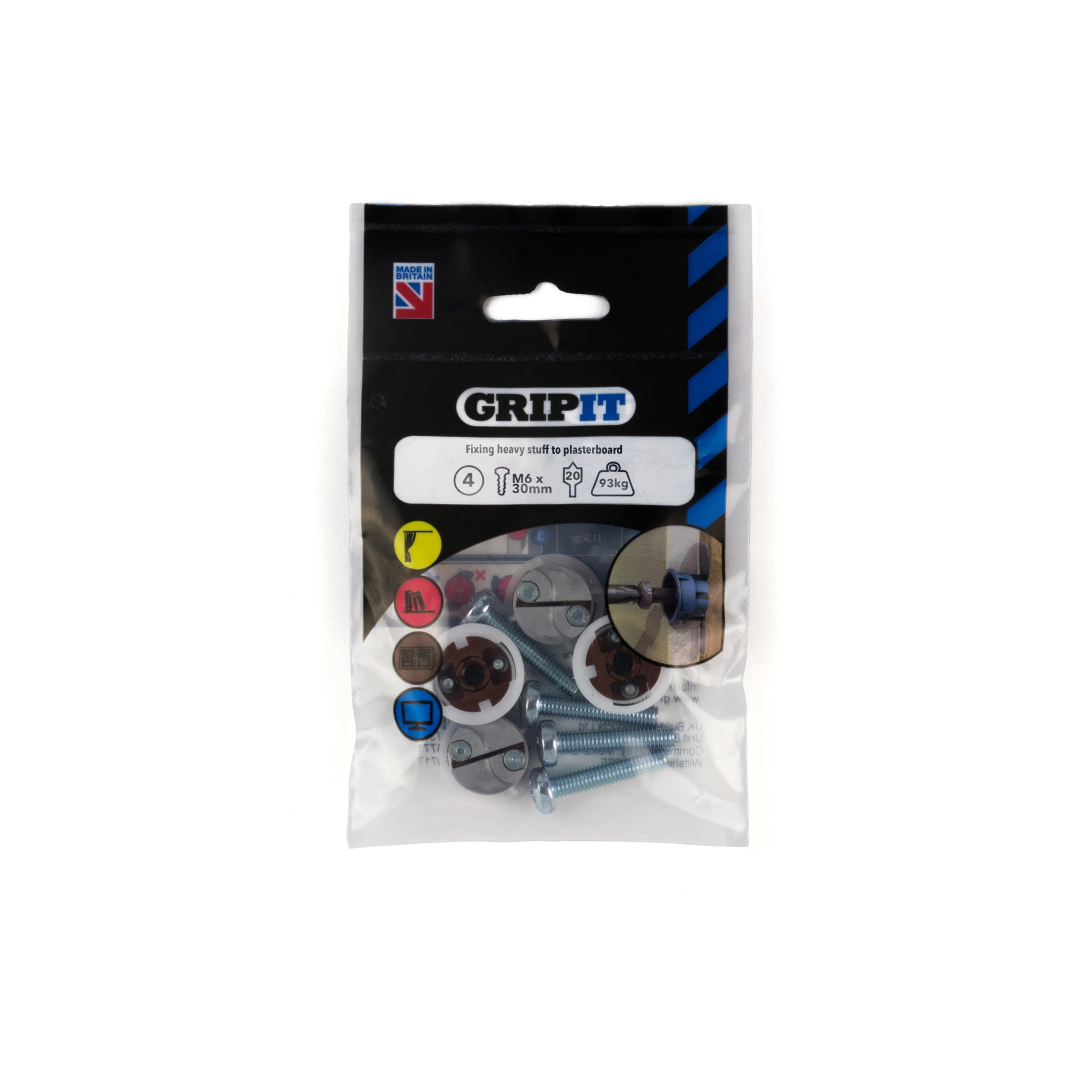 GRIPIT FIXINGS - BROWN 20MM FIXING PACK - 202-304 - PK4