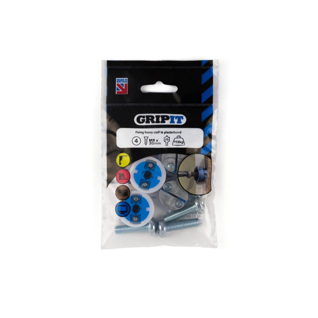 GRIPIT FIXINGS - BLUE 25MM FIXING PACK - 252-304 - PK4