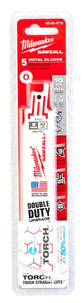 MILWAUKEE SAWZALL BLADE - 150MM TORCH DEMOLITION BLADES - 5PC - 48004712