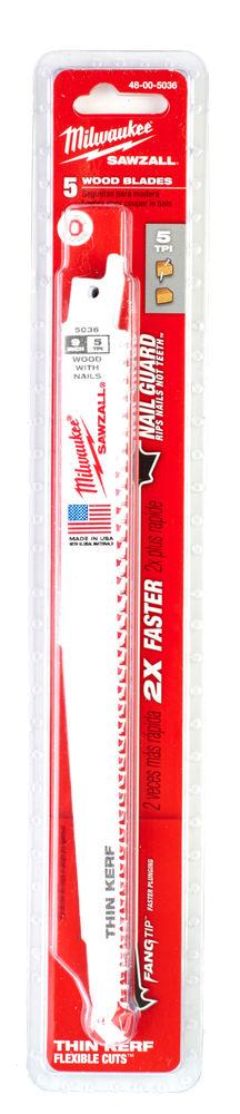 MILWAUKEE SAWZALL BLADE - 230MM METAL THIN KERF - 5PC - 48005036