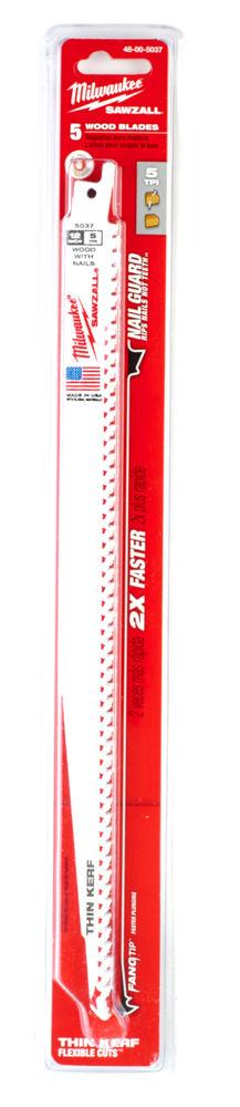 MILWAUKEE SAWZALL BLADE - 300MM WOOD WITH NAILS THIN KERF - 5PC - 48005037
