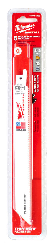 MILWAUKEE SAWZALL BLADE - 200MM GENERAL PURPOSE - 5PC - 48005093