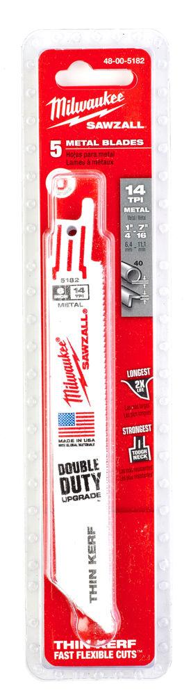 MILWAUKEE SAWZALL BLADE - 150MM METAL THIN KERF - 5PC - 48005182