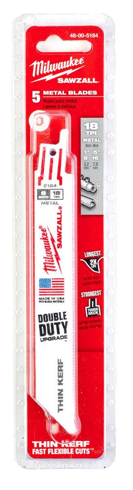 MILWAUKEE SAWZALL BLADE - 150MM METAL THIN KERF - 5PC - 48005184