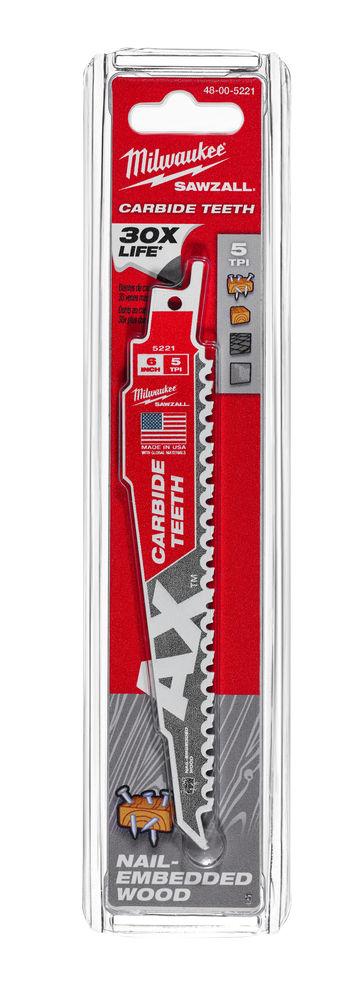 MILWAUKEE SAWZALL BLADE - 150MM AX CARBIDE BLADES - 1PC - 48005221