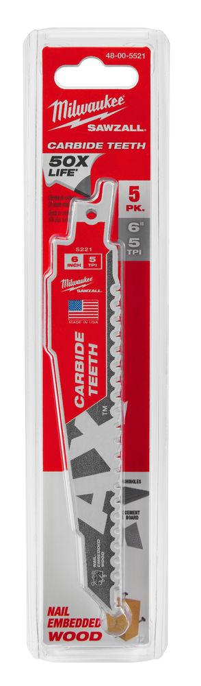MILWAUKEE SAWZALL BLADE - 150MM AX CARBIDE BLADES - 5PC - 48005521
