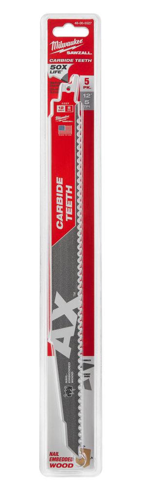 MILWAUKEE SAWZALL BLADE - 300MM AX CARBIDE BLADES - 5PC - 48005527