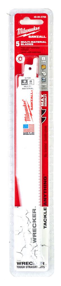 MILWAUKEE SAWZALL BLADE - 230MM WRECKER BLADES - 5PC - 48005706