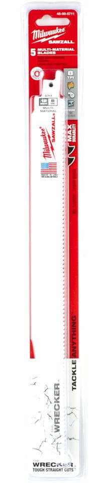 MILWAUKEE SAWZALL BLADE - 300MM WRECKER BLADES - 5PC - 48005711