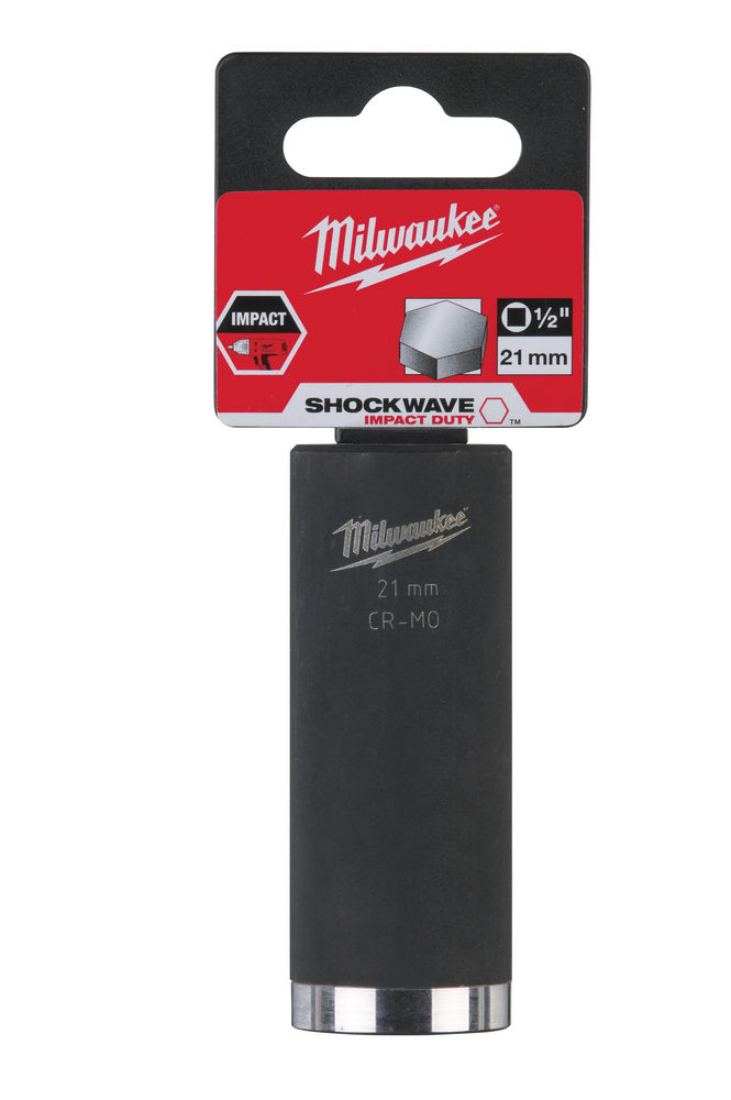 Milwaukee 21mm 1/2in Shockwave Impact Duty - Impact Socket Deep 4932352856 (Scaffolders)