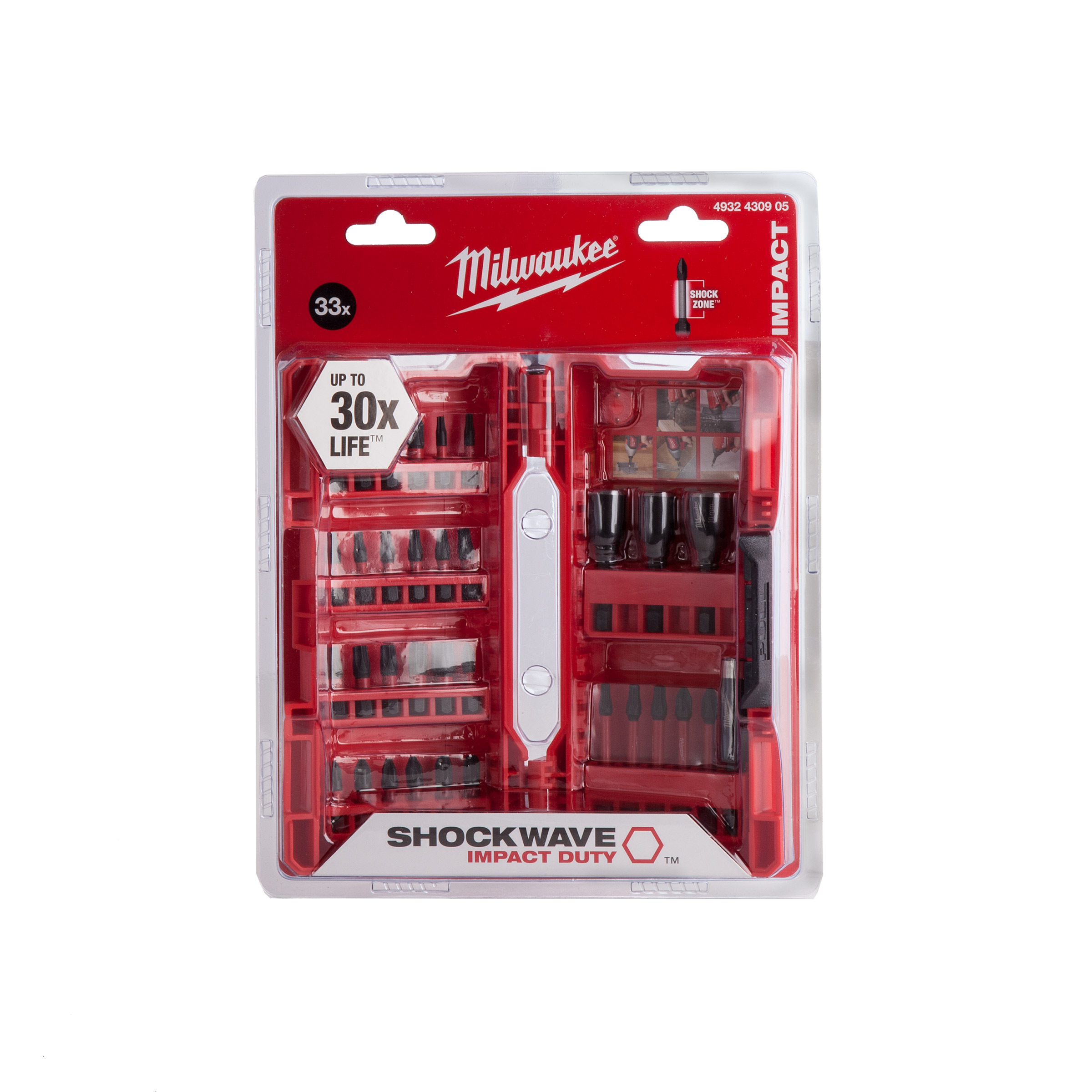 MILWAUKEE SHOCKWAVE SCREWDRIVER BIT SET - 33PC - 4932430905