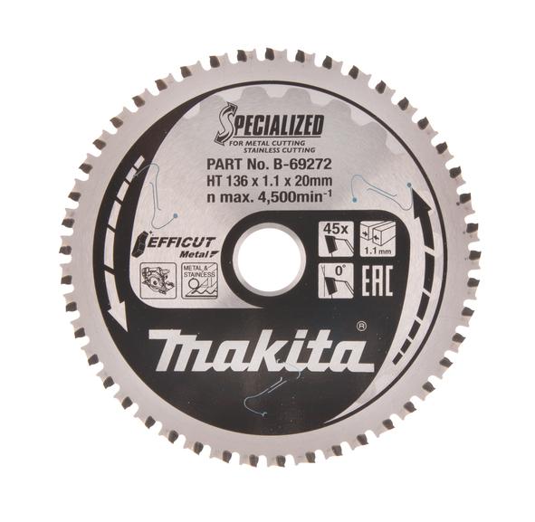 Makita 136mm Efficut Metal & Stainless Circular Saw Blade 136mm x 20mm x 45 Teeth