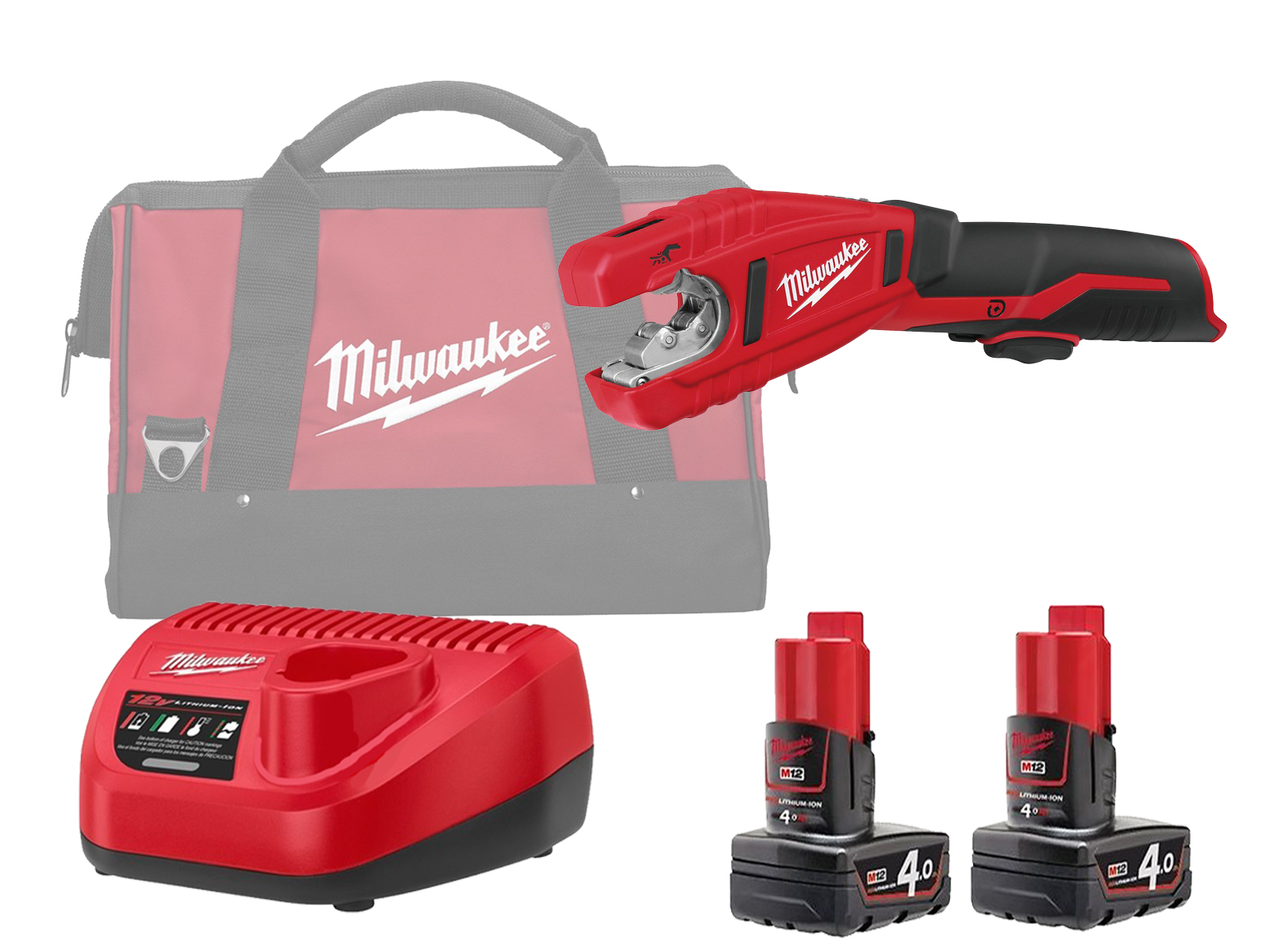 Milwaukee C12PC 12V Sub Compact Copper Pipe Cutter 12mm - 28mm - 4.0ah Pack