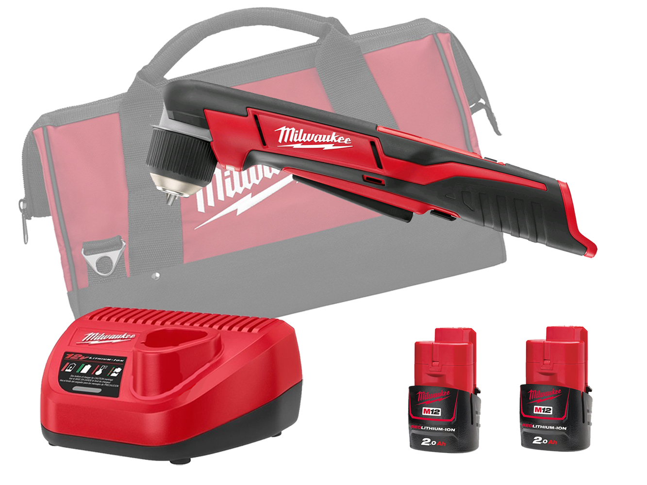 MILWAUKEE 12V COMPACT RIGHT ANGLE DRILL - C12RAD - 2.0AH PACK