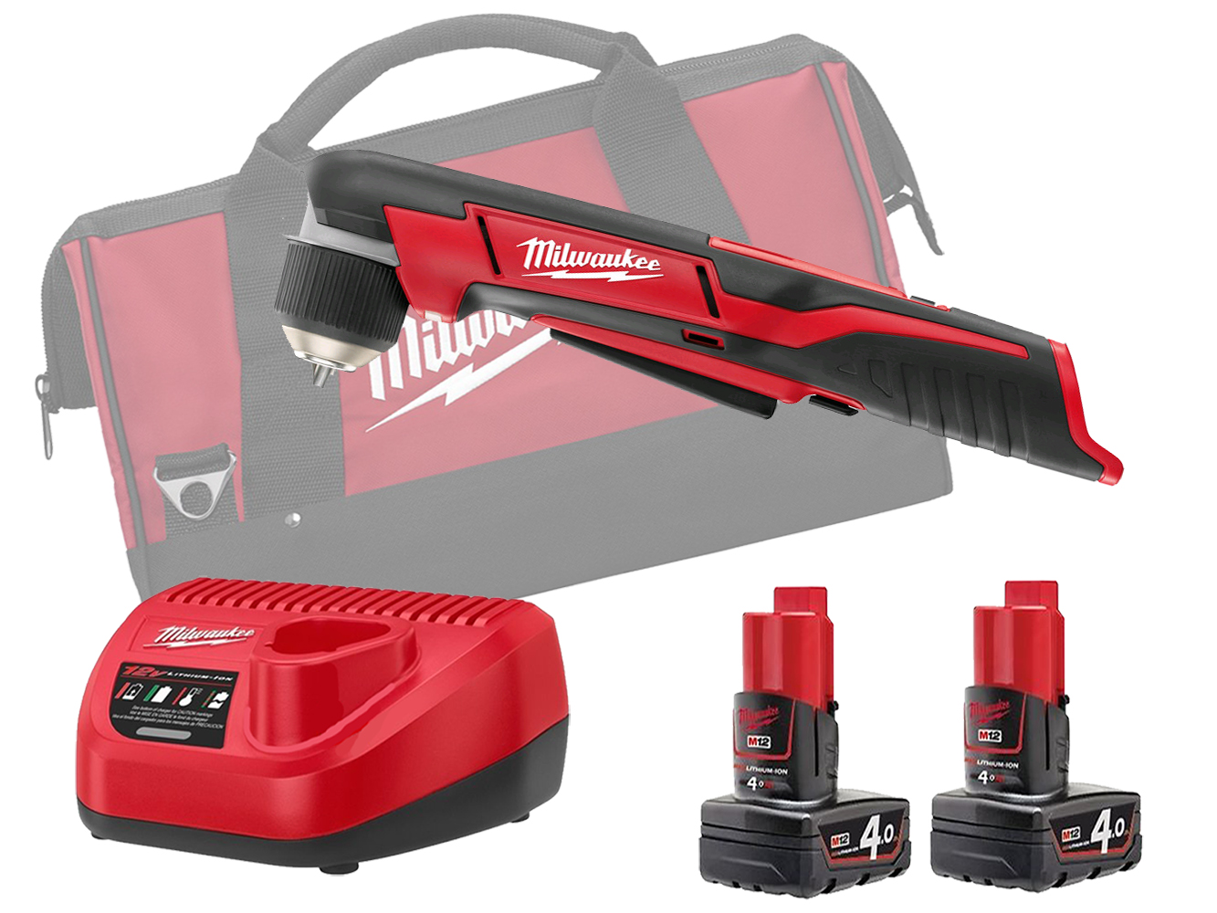 MILWAUKEE 12V COMPACT RIGHT ANGLE DRILL - C12RAD - 4.0AH PACK