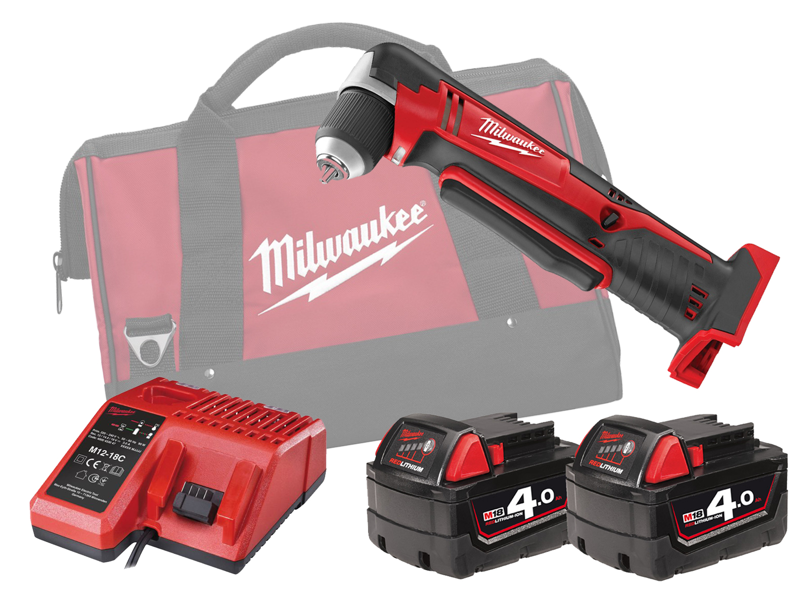 MILWAUKEE 18V COMPACT RIGHT ANGLE DRILL - C18RAD - 4.0AH PACK