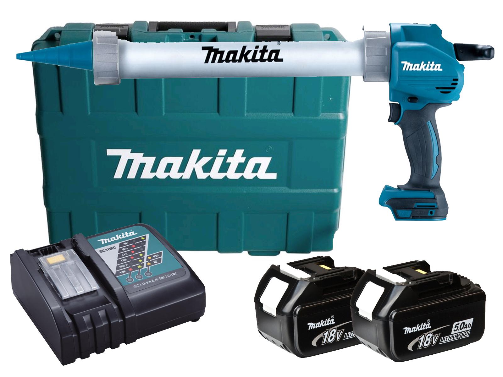 Makita 18V 600ml Aluminium Caulking Gun & Case - DCG180 - 5.0Ah Pack