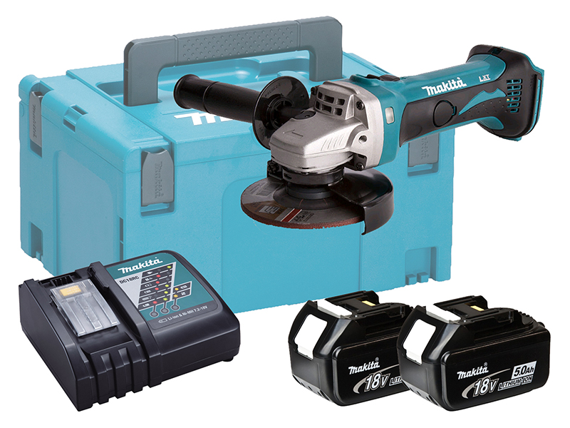 MAKITA 18V BRUSHED 115MM ANGLE GRINDER LXT - 5.0AH PACK