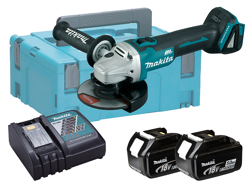 Makita DGA513 18V Brushless 125mm Angle Grinder LXT - 5.0Ah Pack