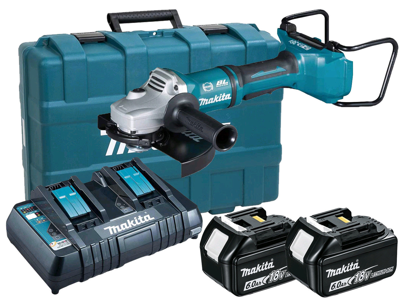 Makita DGA900 36V (Twin 18V) Brushless 230mm Angle Grinder LXT - 6.0Ah Pack