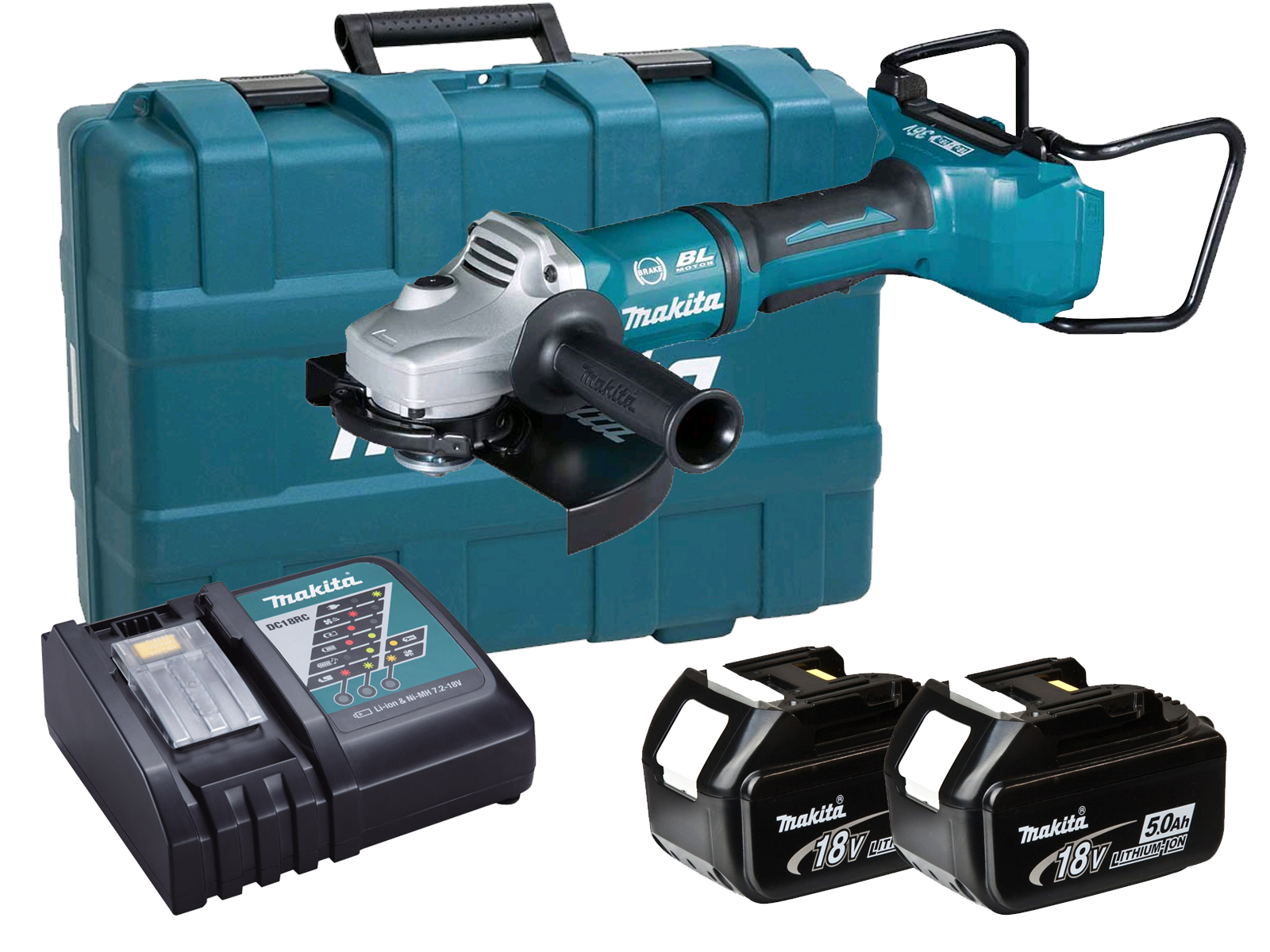 MAKITA 18V TWIN BRUSHLESS ANGLE GRINDER 230MM - DGA900 - 5.0AH PACK - DGA900PT2