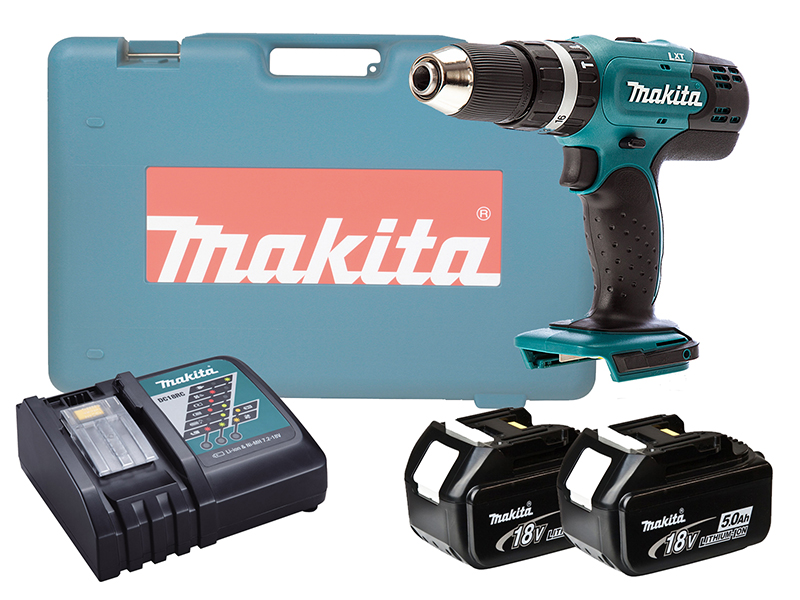 MAKITA 18V BRUSHED COMBI DRILL LXT - DHP453 - 5.0AH PACK