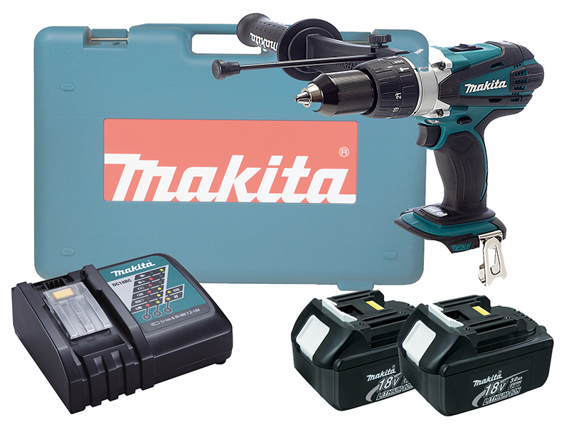 MAKITA 18V BRUSHED HEAVY-DUTY COMBI DRILL LXT - DHP458 - 3.0AH PACK