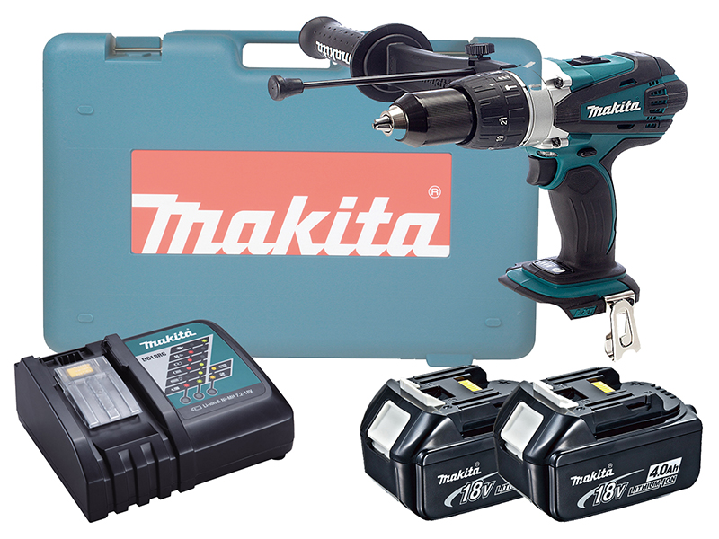 MAKITA 18V BRUSHED HEAVY-DUTY COMBI DRILL LXT - DHP458 - 4.0AH PACK