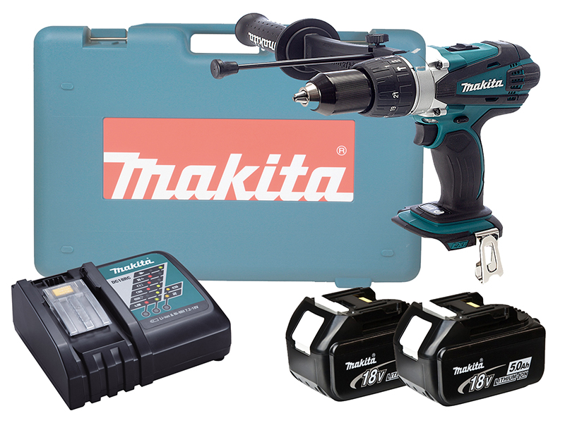 MAKITA 18V BRUSHED HEAVY-DUTY COMBI DRILL LXT - DHP458 - 5.0AH PACK