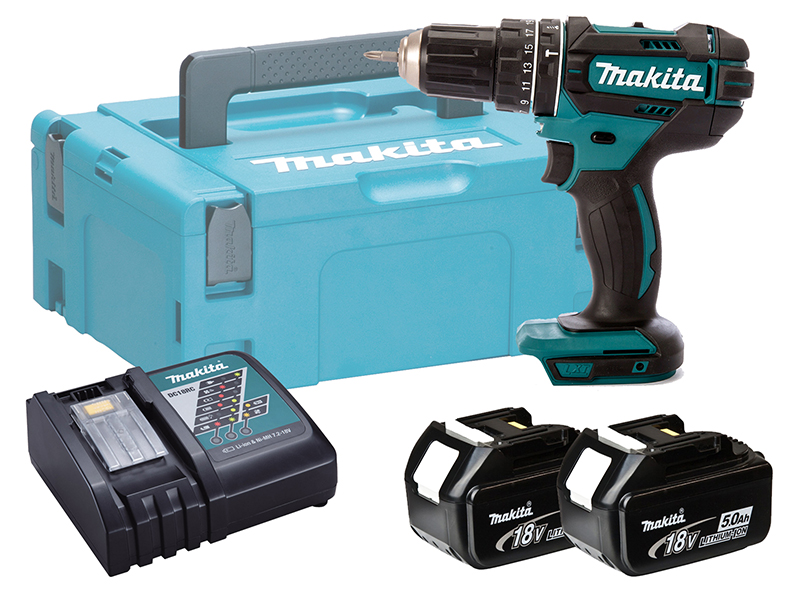 MAKITA 18V COMPACT BRUSHED COMBI DRILL - DHP482 - 5.0AH PACK
