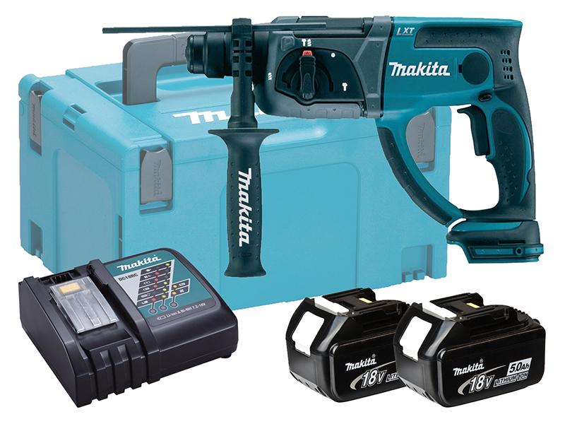 Makita 18V Brushed 3-Mode SDS Hammer Drill - DHR202 - 5.0Ah Pack