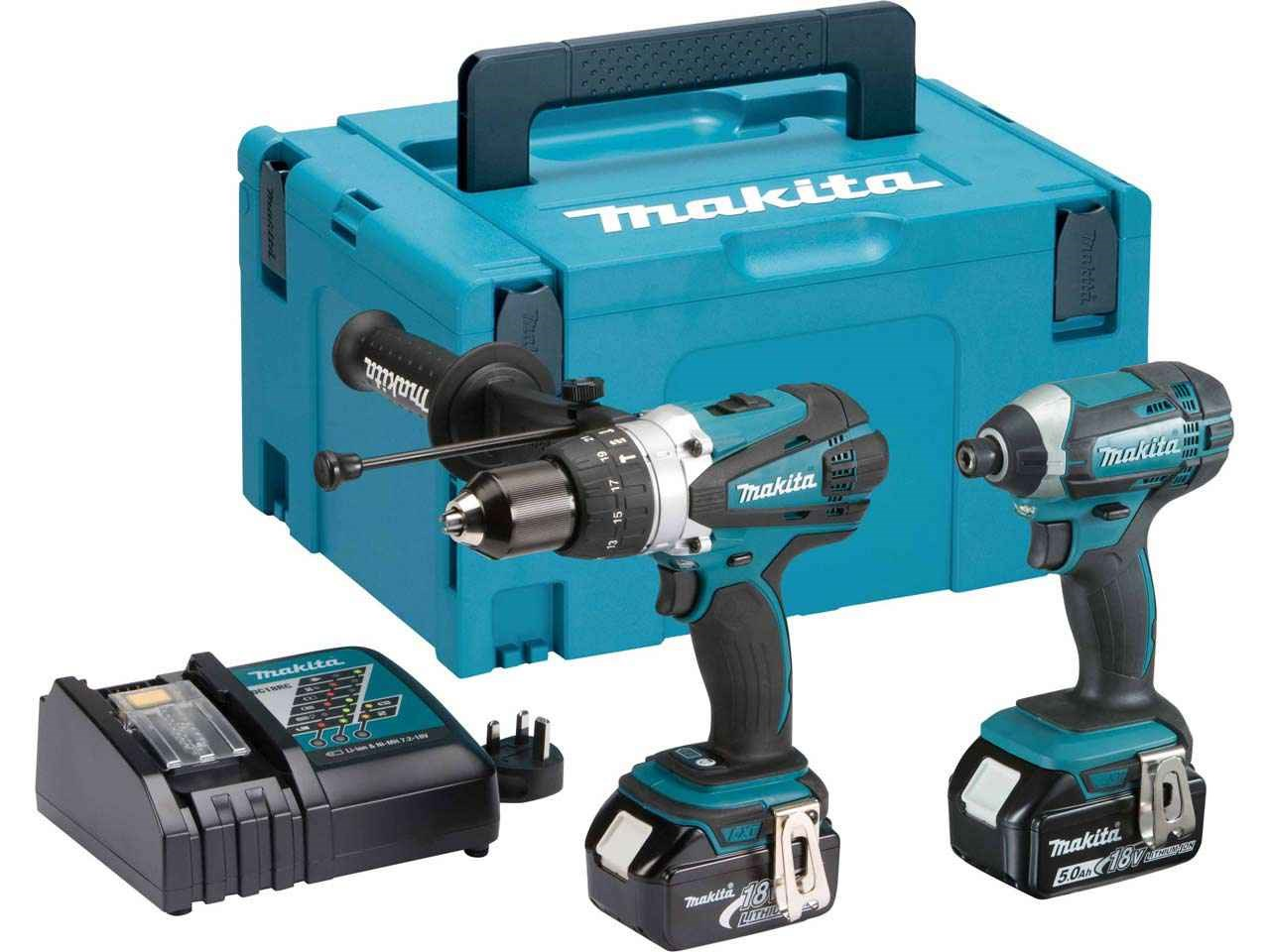 Makita DLX2145TJ 18V Brushed LXT DHP458 Combi Drill & DTD152 Impact Driver - 5.0Ah Pack