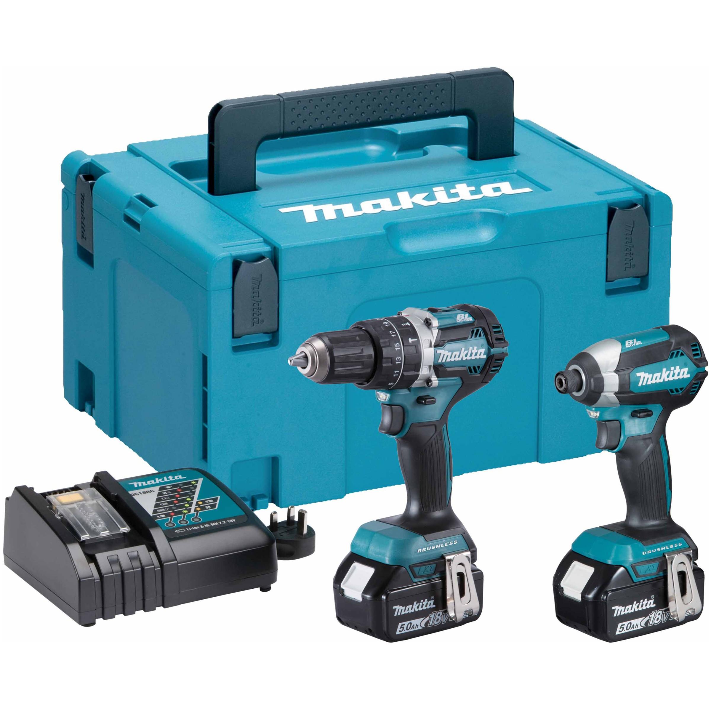 Makita 18V Brushless LXT Combi Drill & Impact Driver - 5.0Ah Pack