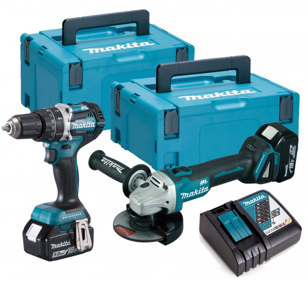 Makita 18V Brushless Combi Drill & 125mm Angle Grinder - 5.0ah Pack