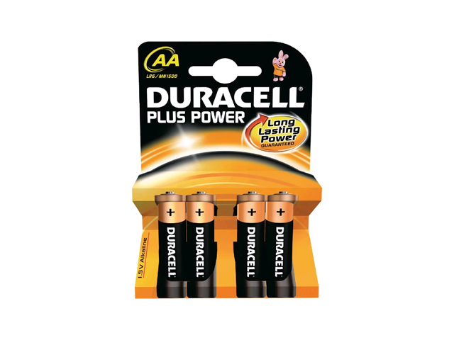 DURACELL AA BATTERIES CELL PLUS POWER LR6/HP7 PACK OF 4
