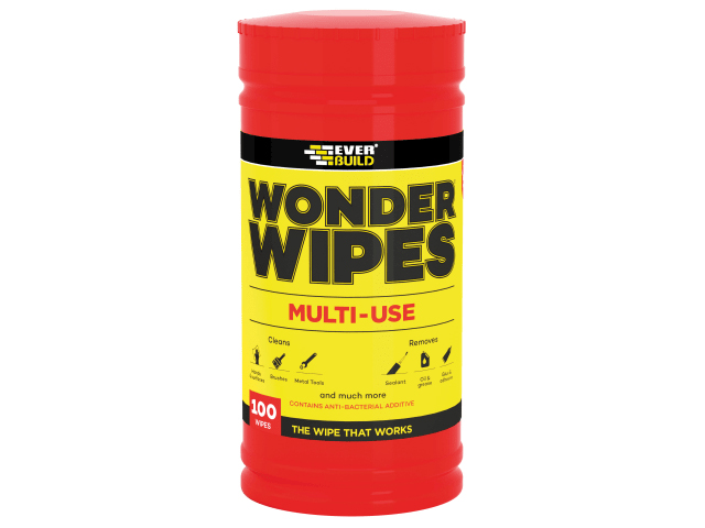 EVERBUILD WONDER WIPES TRADE TUB (100) - CLEANS HANDS - TOOLS - SURFACES)