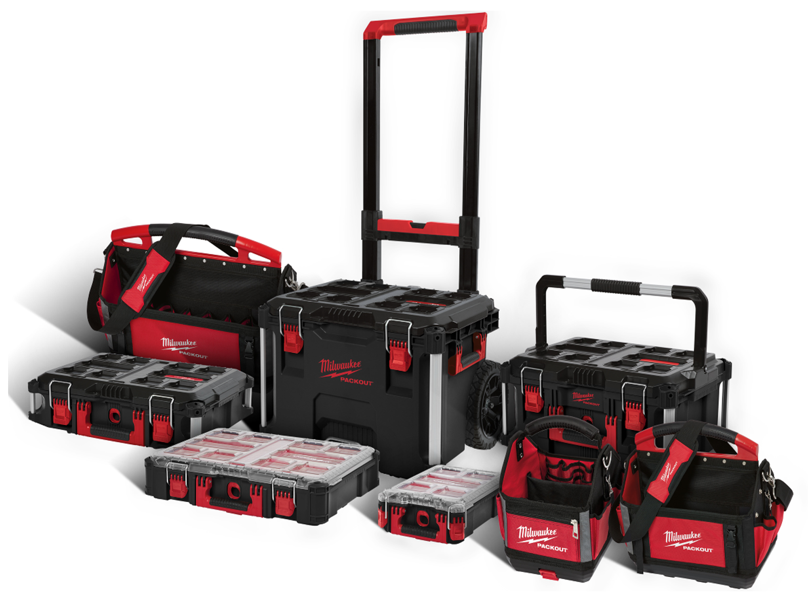 MILWAUKEE PACKOUT - PACKOUT TROLLEY / BOX 2 / BOX 3 / ORGANISER'S & TOTE BAGS