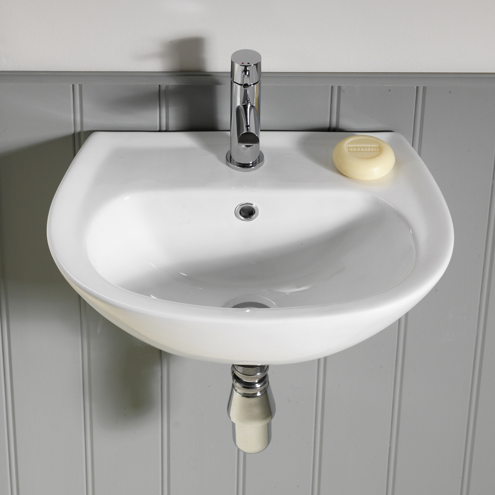 QX EBONY 450 X 300 'D' SHAPED CLOAKROOM BASIN - (1TH)