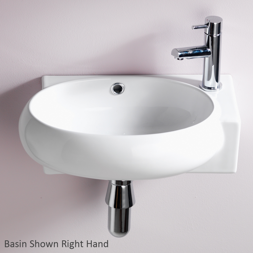 QX EBONY OFFSET 420MM X 285MM CLOAKROOM BASIN RH - (1TH)