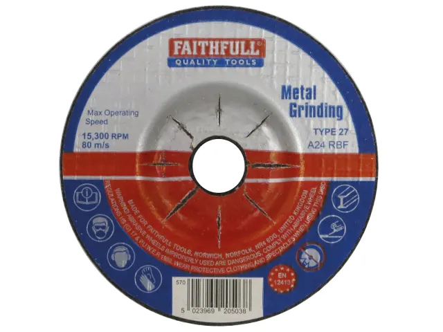 FAITHFULL METAL GRINDING DISC DEPRESSED CENTRE 100 X 5 X 16MM